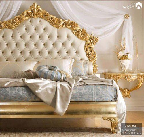 تخت خواب زیبای کلاسیک که با رنگ طلایی 392 - 2