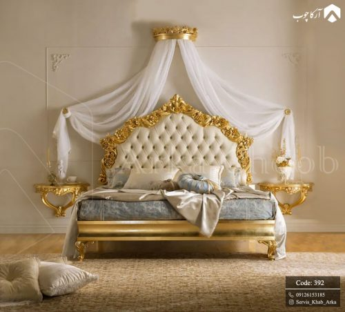 تخت خواب زیبای کلاسیک که با رنگ طلایی 392 - 3