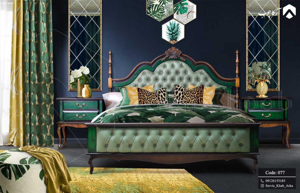 عکس سرویس خواب سبز سبک نئوکلاسیک
