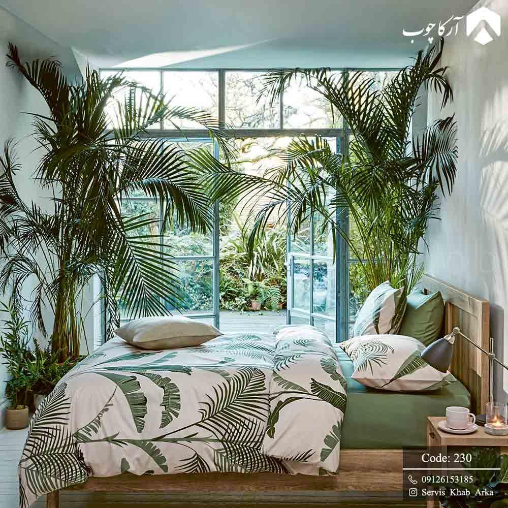 سرویس خواب خاص و زیبای مدرن از جنس استیل پارچه و چوب