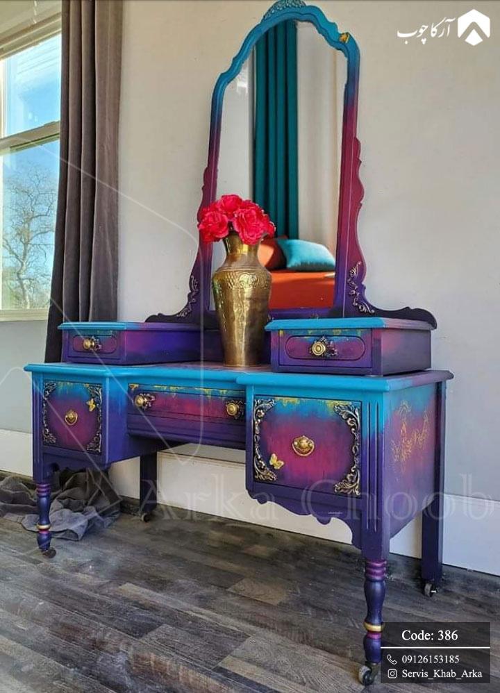 میز آرایش با رنگ فوق العاده خاص سبک نئوکلاسیک کد 386