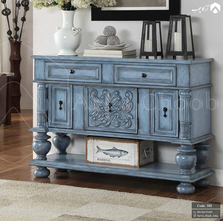 کنسول کلاسیک با رنگ زیبای آبی و خش تیره کد 388